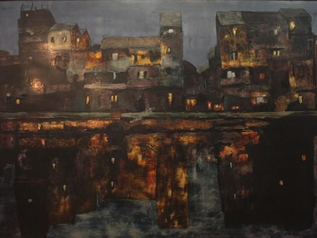 Đêm Tam Bạc lung linh trong tranh của hoạ sĩ Trịnh Thái