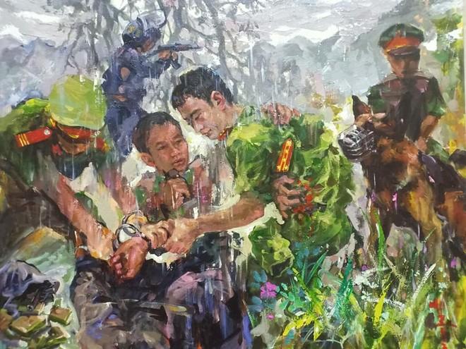 """Tác phẩm """"Cơn mưa trắng"""" của họa sĩ Hồ Huy Hùng"""