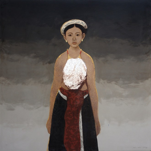 """""""Em Xoan"""", sơn mài trên gỗ của họa sĩ Bùi Hữu Hùng"""