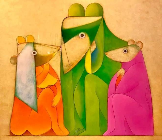 """""""Gia đình nhà chuột"""", sơn mài của họa sĩ Thành Chương"""