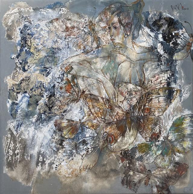 """""""Bướm và hoa"""", sơn dầu của họa sĩ Hứa Thanh Bình"""