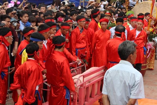Người dân hò reo khi xem chém lợn ở Ném Thượng ảnh 11
