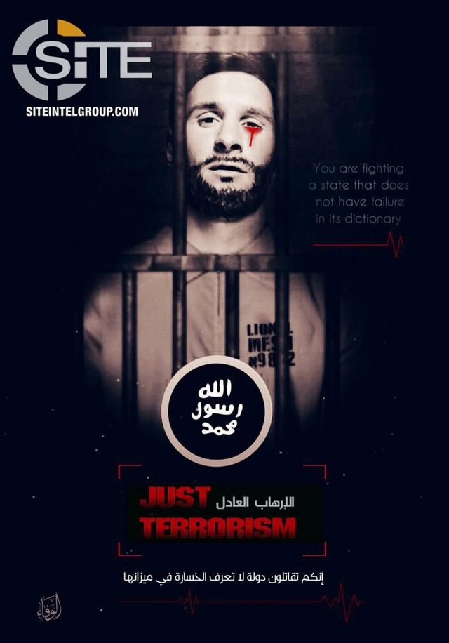 Hình ảnh Messi nhỏ huyết lệ trong panô đe dọa khủng bố nước Nga của IS