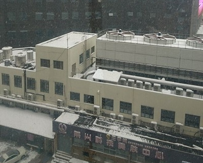 Tuyết rơi dày đặc trở lại ở Thường Châu vào sáng nay 27-1 (Ảnh: Hoàng Linh)