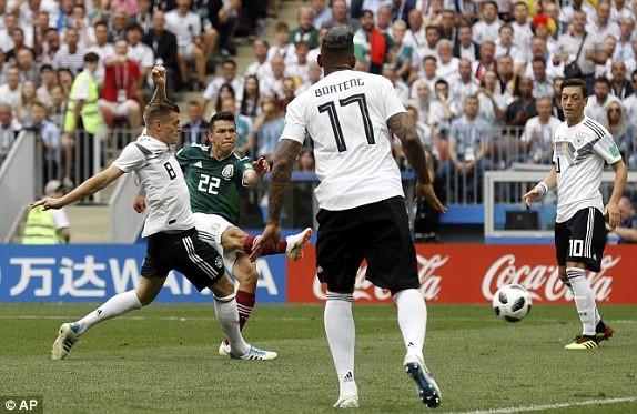 ĐT Đức (áo trắng) bị choáng trước cách nhập cuộc của Mexico