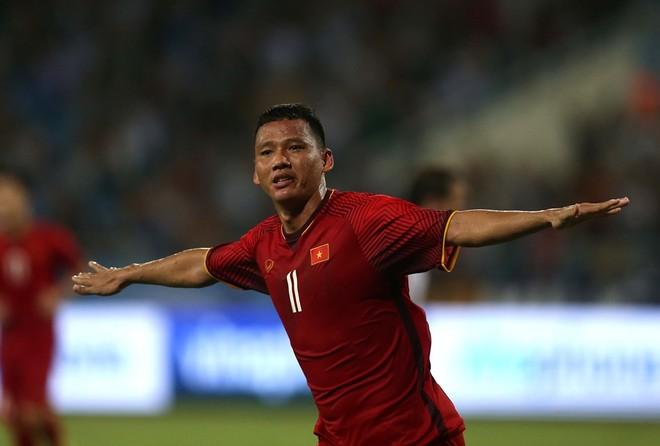 Anh Đức vừa chứng tỏ giá trị với bàn thắng vào lưới U23 Palestine (Ảnh: Vũ Vy)