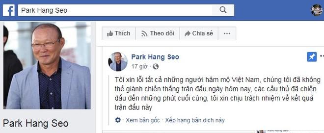Facebook mạo danh HLV Park Hang-seo (Ảnh chụp màn hình)