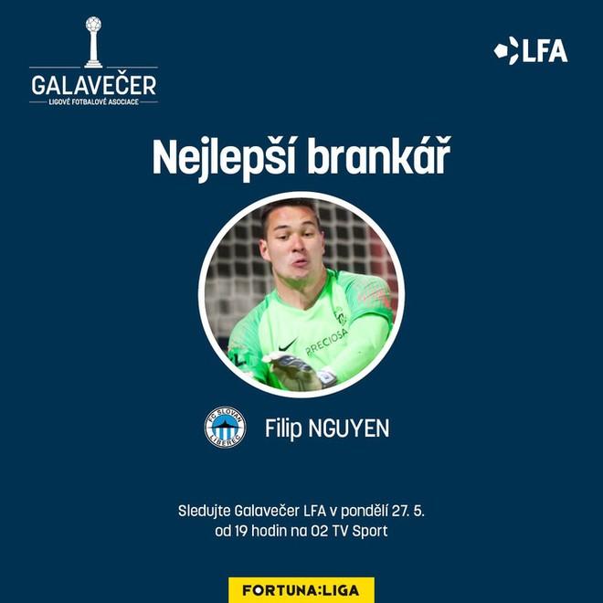 """Công bố giải thưởng dành cho Filip Nguyễn của Fortuna Liga (Nejlepší brankář, tạm dịch là """"Thủ môn xuất sắc nhất"""")"""