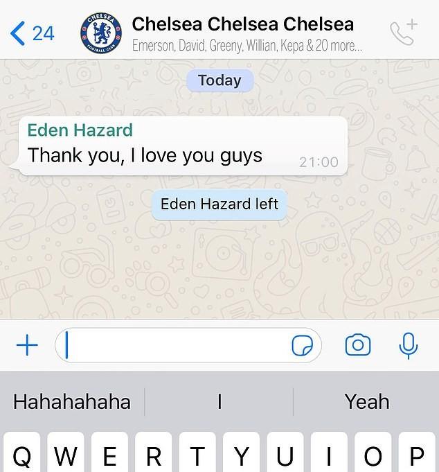 Hazard nói một lời rồi rời luôn khỏi nhóm chat với đồng đội