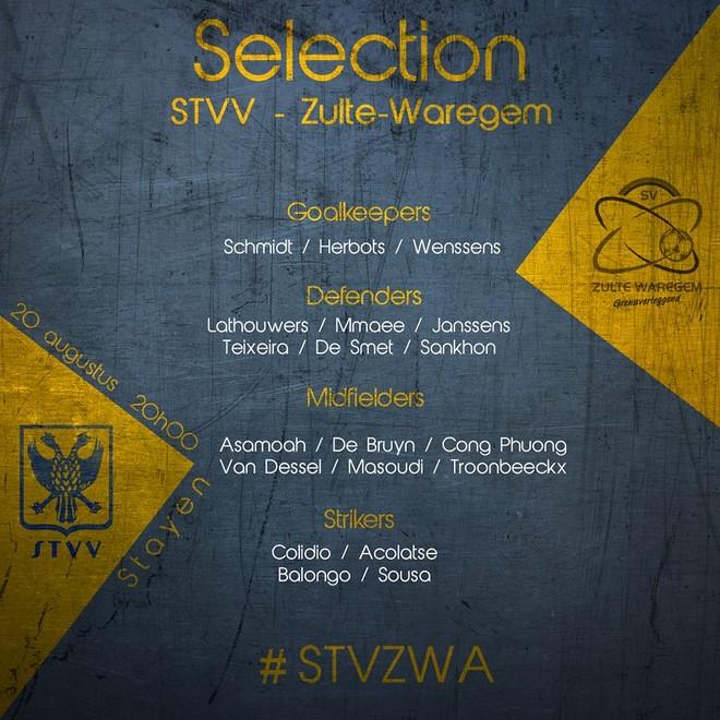 Danh sách 19 cầu thủ đá vòng 5 giải Bỉ của STVV