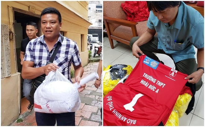 HLV trường Nguyễn Thị Minh Khai và Hoài Đức A trong buổi nhận áo thi đấu sáng 4-10