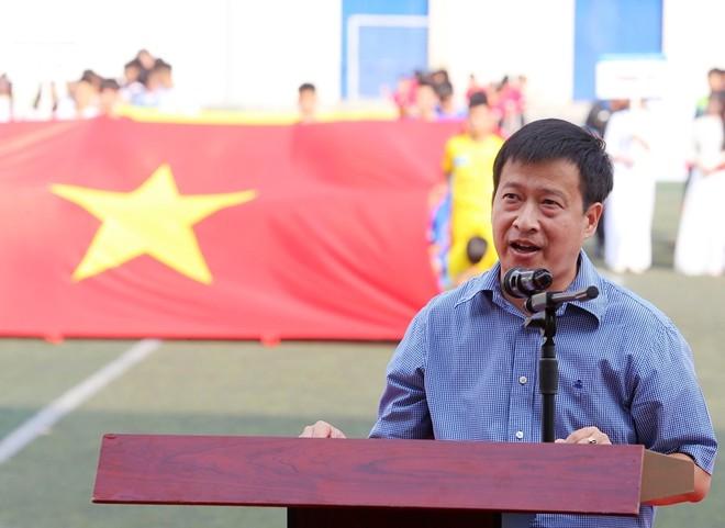Ông Nguyễn Thanh Bình - Tổng Biên tập báo An ninh Thủ đô - Trưởng Ban Tổ chức giải phát biểu trước trận chung kết