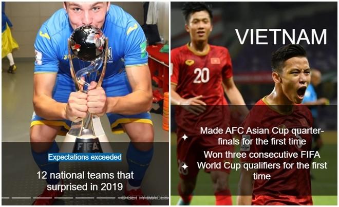 Bài viết về 12 đội bóng gây ngạc nhiên nhất năm 2019 và đoạn giới thiệu về ĐT Việt Nam (Ảnh chụp màn hình)