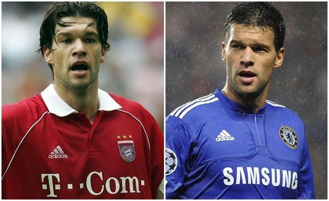 Ballack trong hai màu áo Bayern và Chelsea