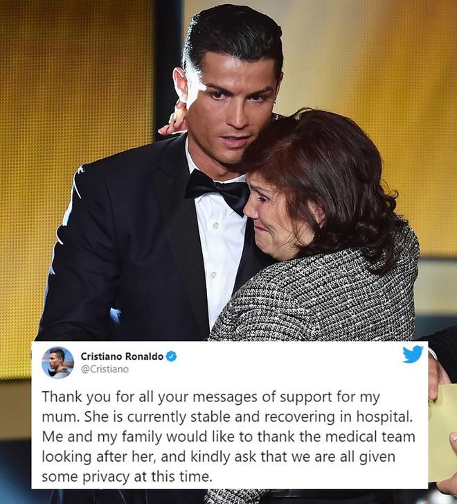 Ronaldo và những dòng trạng thái chia sẻ về sức khỏe tích cực của mẹ