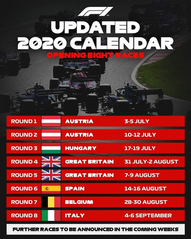 8 chặng đua F1 đầu tiên của năm 2020 được ấn định lịch từ tháng 7 đến tháng 9