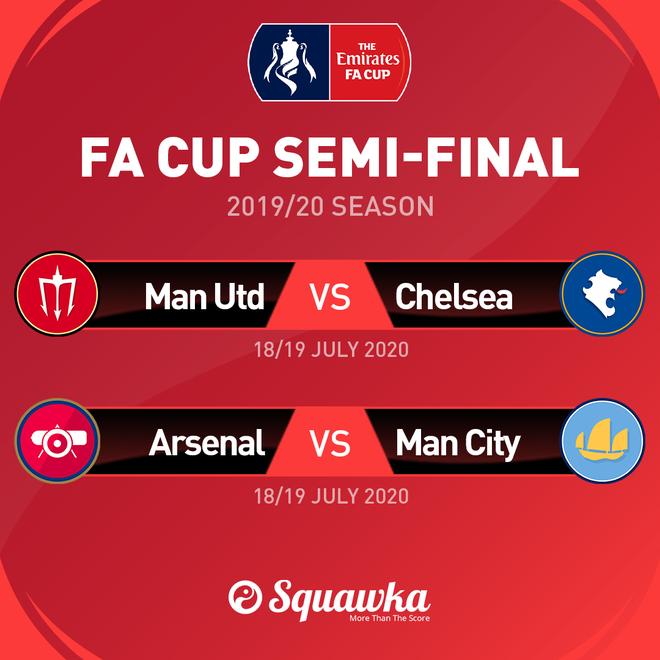 Hai trận bán kết FA Cup diễn ra vào các ngày 18 và 19 tháng 7 tới