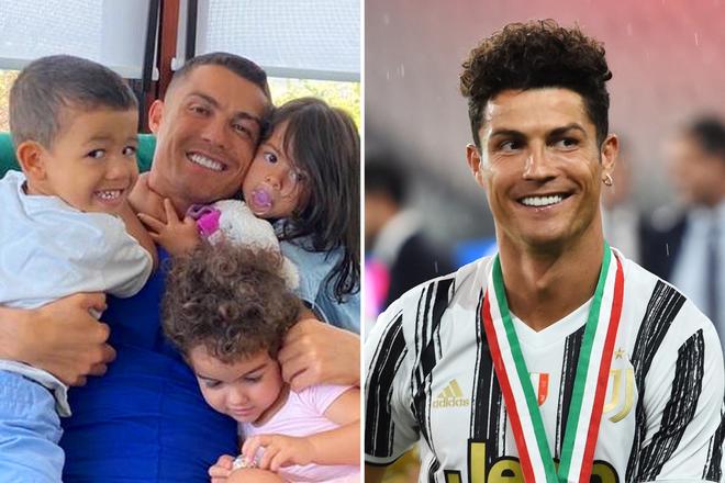 Hình ảnh mới nhất của Ronaldo (trái), anh đã không còn mái tóc xù