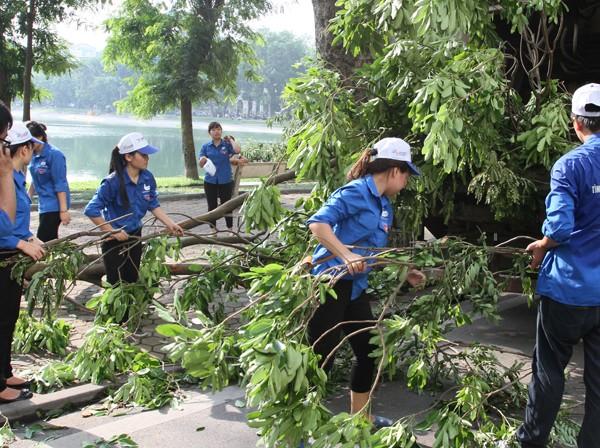 Đường phố Hà Nội một ngày sau giông lốc kinh hoàng ảnh 1