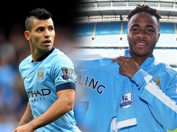 Aguero (trái) khả năng vắng mặt nhưng Sterling chắc chắn tới Việt Nam ngày 25-7 tới