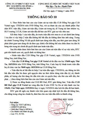 BTC giải ra thông báo hoãn trận Đồng Nai - Viettel