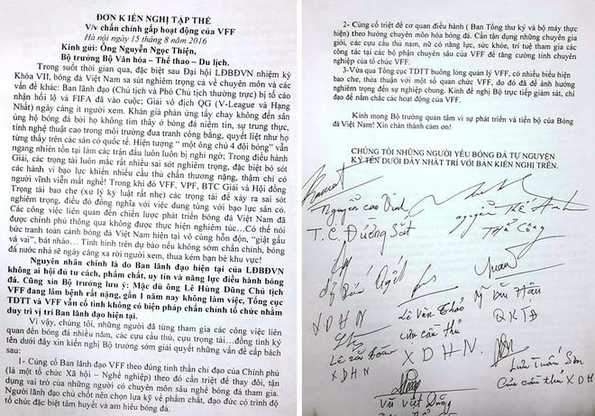 Đơn kiến nghị của các cựu cầu thủ gửi Bộ trưởng Bộ VH-TT&DL