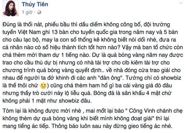 Ca sỹ Thủy Tiên - vợ Công Vinh chia sẻ bức xúc trên trang mạng cá nhân