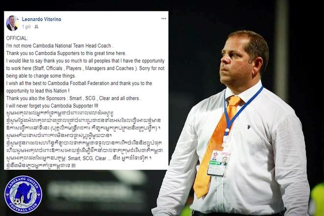HLV Vitorino thông tin về việc rời cương vị HLV trưởng ĐT Campuchia