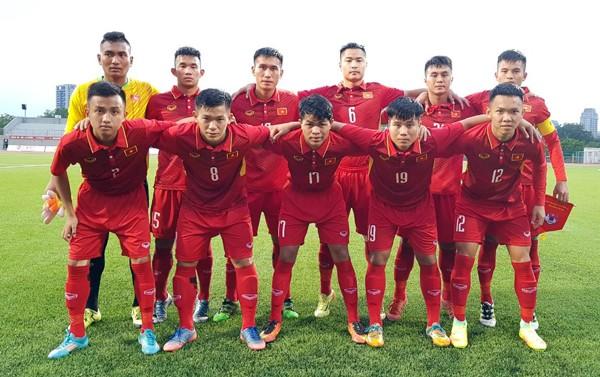 Đội hình ra sân U19 Việt Nam trong trận thắng U19 Đài Bắc Trung Hoa 2-1 (ảnh VFF)