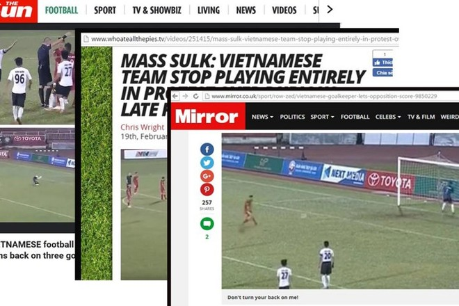 """Hình ảnh thủ môn Long An quay lưng cho cầu thủ TP.HCM ghi bàn điển hình cho """"vết nhơ"""" V-League 2017, bị nhiều tờ báo chí quốc tế chế giễu, châm biếm"""