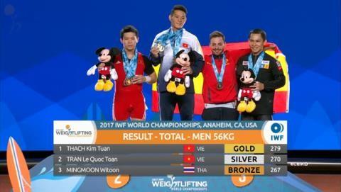 Thạch Kim Tuấn và Trần Lê Quốc Toàn chia nhau nhất, nhì hạng 56kg giải thế giới