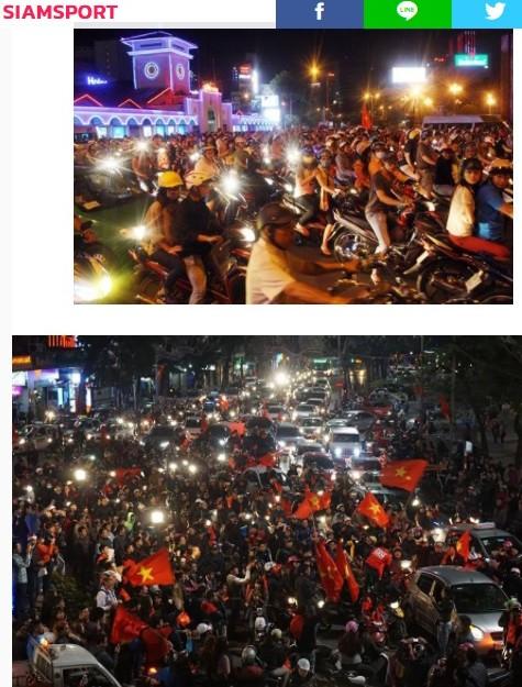 Hình ảnh CĐV Việt Nam ăn mừng xuất hiện trên tờ Siam Sport
