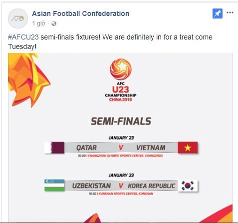 Trong khi facebook của AFC lại thông báo đá lúc 16h ngày 23-1