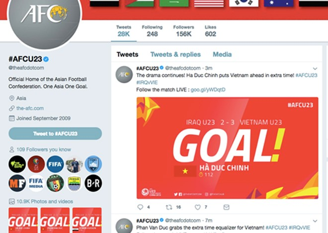 Tài khoản Twitter của LĐBĐ châu Á liên tục cảm thán khi tường thuật trận đấu của U23 Việt Nam với U23 Iraq