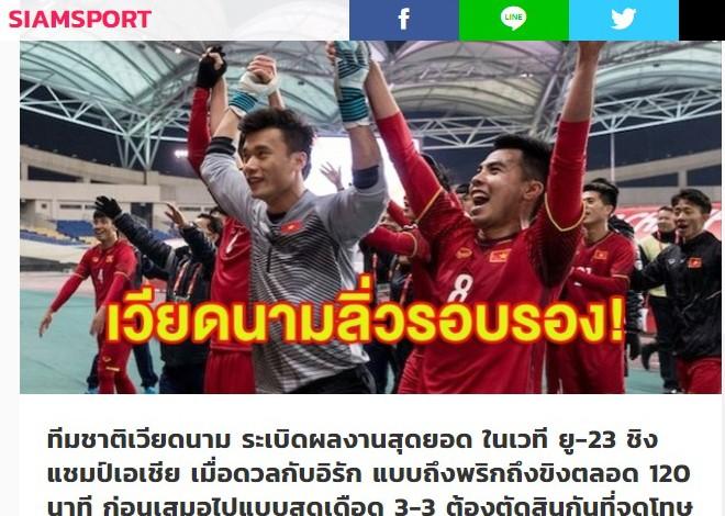 Tờ Siam Sport ngưỡng mộ chiến tích vào bán kết châu Á của U23 Việt Nam