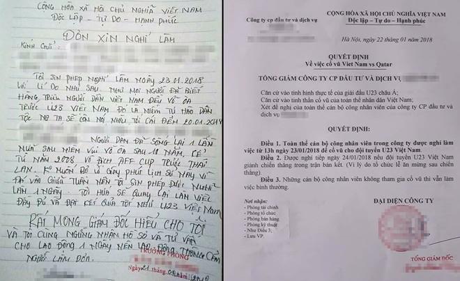 Người lao động viết đơn xin nghỉ làm (ảnh trái) trong khi nhiều công ty cho nhân viên nghỉ để cổ vũ U23 Việt Nam