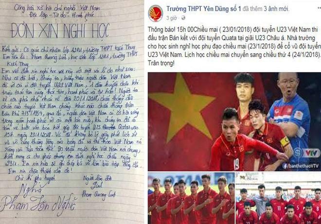Lá đơn xin nghỉ học của một học sinh Hải Phòng (ảnh trái) và thông báo cho nghỉ học của một trường THPT tại Bắc Giang, với cùng một lý do là để cổ vũ U23 Việt Nam