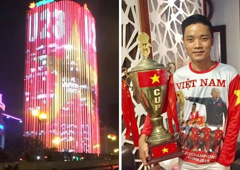 Một tòa nhà chạy đèn led hình cờ đỏ sao vàng và chữ U23 (ảnh trái), trong khi nhiều cổ động viên mặc các mẫu áo in hình thầy trò HLV Park Hang-seo