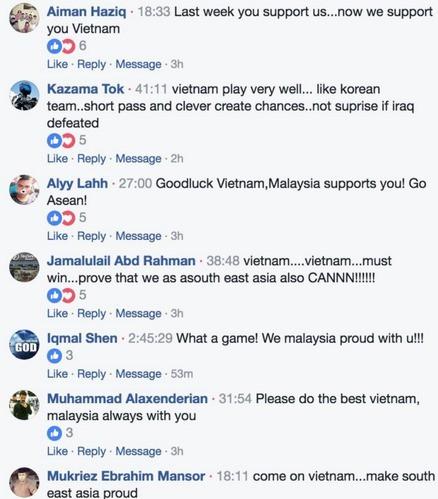Các bình luận của cộng đồng mạng Đông Nam Á ủng hộ U23 Việt Nam vào chung kết