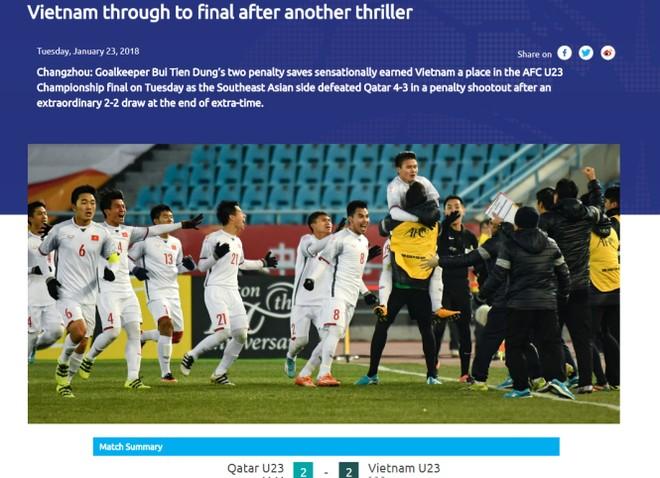 AFC tiếp tục bày tỏ ngạc nhiên với chiến thắng lịch sử của U23 Việt Nam
