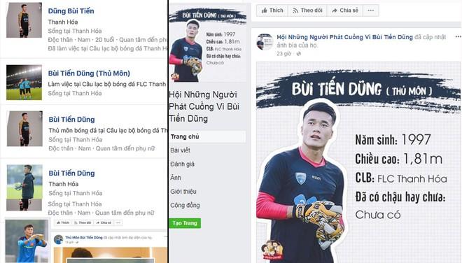Nhiều tài khoản giả mạo facebook thủ môn Bùi Tiến Dũng (ảnh trái) và có cả hội những người phát cuồng vì thủ môn này