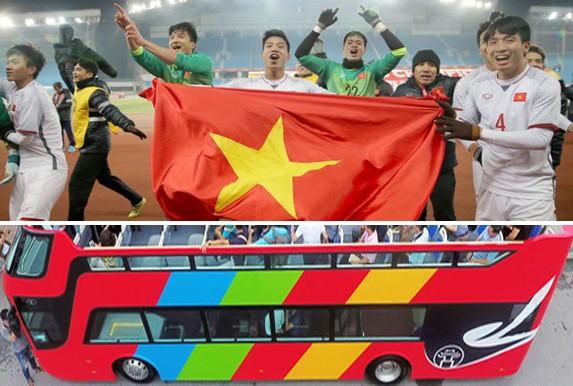 Dự kiến, U23 Việt Nam sẽ diễu hành trên xe buýt hai tầng trên đường phố Hà Nội, cùng người hâm mộ ăn mừng chiến tích giải châu Á