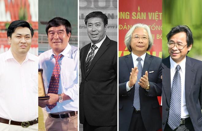 Ông Lê Thành Trung (giữa) xin rút, còn lại 4 ứng viên Phó Chủ tịch tphụ trách truyền thông VFF khóa VIII