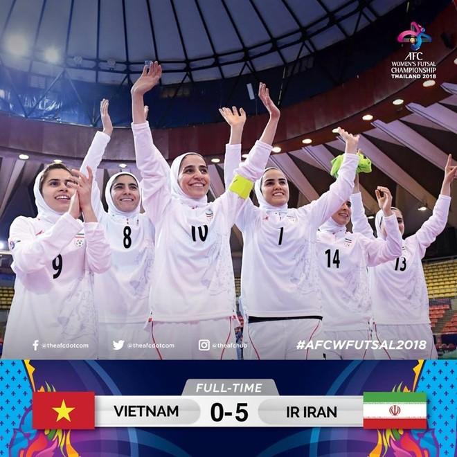 Các nữ tuyển thủ futsal Iran ăn mừng chiến thắng