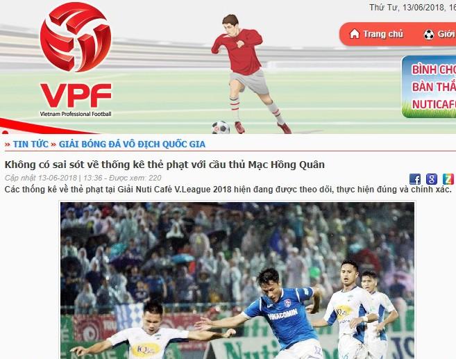 VPF ra thông báo phản bác thông tin sai lệch từ bài báo trên một trang điện tử