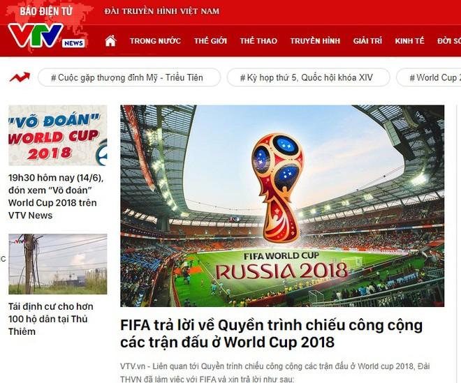 VTV đăng tải trả lời của FIFA về quyền trình chiếu World Cup tại các tụ điểm công cộng