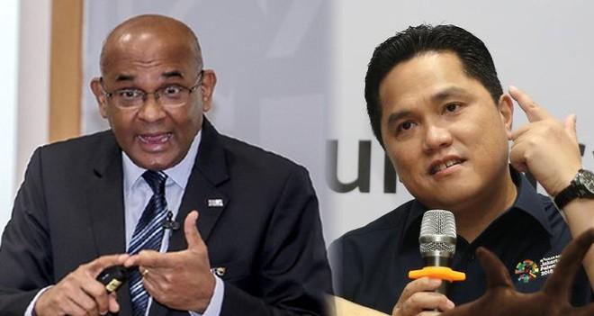 Chủ tịch INASGOC, Erick Thohir (bên phải) và Tổng thư ký AFC, Datuk Windsor