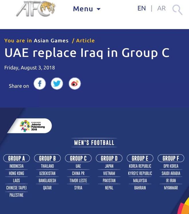 AFC thông báo UAE thế chỗ Iraq tại bảng C môn bóng đá nam ASIAD
