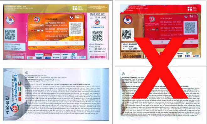 Mẫu vé thật (bên trái) và mẫu vé giả bị phát hiện (dấu X)