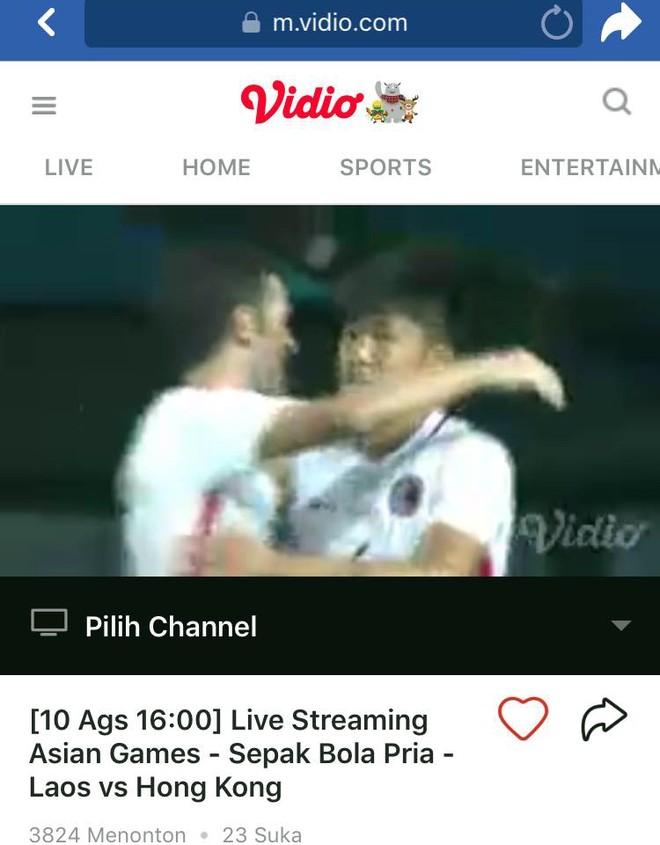 Ngày 10-8, người dân Việt Nam được xem miễn phí trực tiếp trận Lào - Hong Kong trên website của Vidio thông qua các thiết bị có kết nối internet (ảnh chụp màn hình)